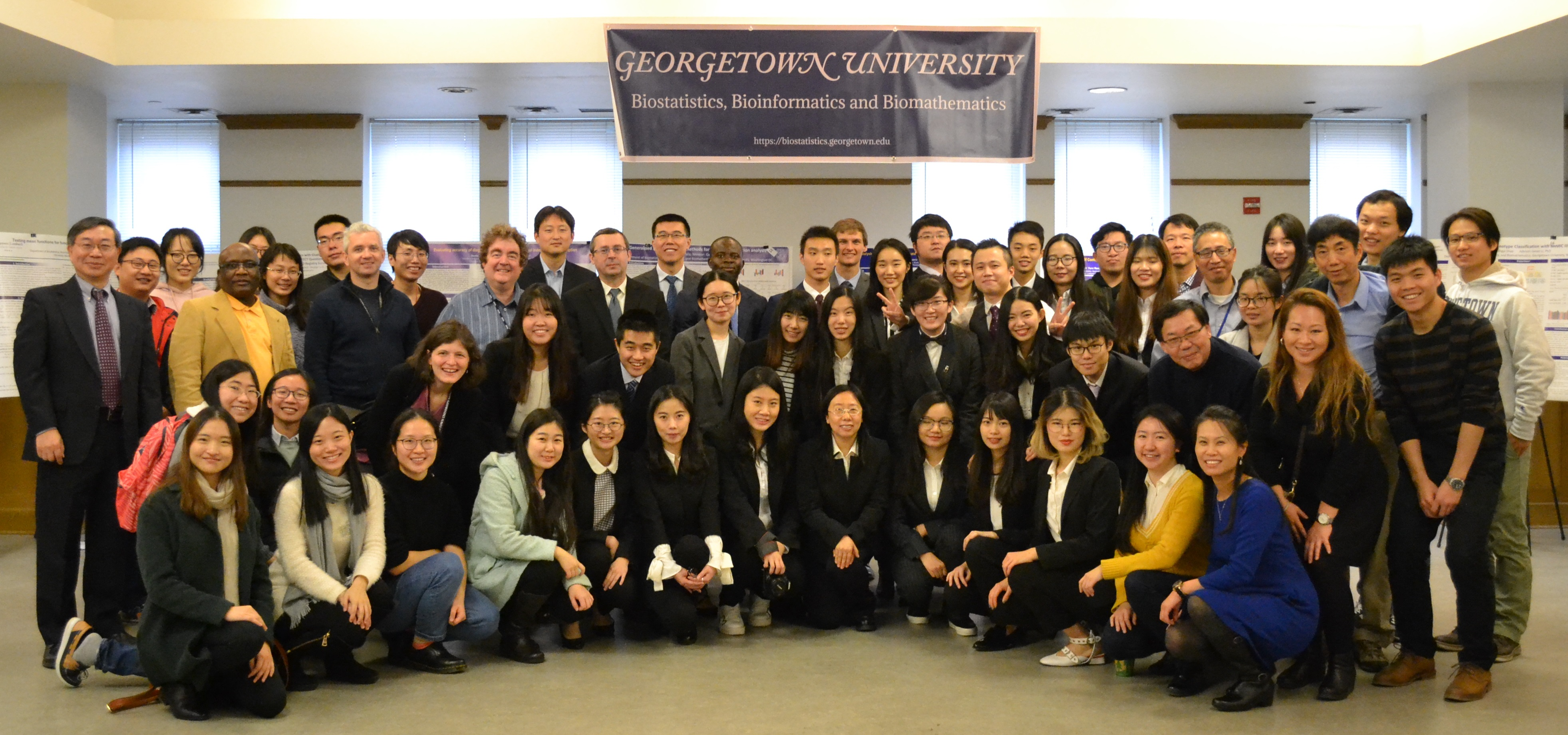 Graduating MS students, first-year MS students and Ph.D. students pose with Faculty and Staff at the 2017 Annual Research Practicum Defense.